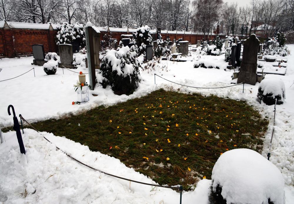 Aschenverstreuung auf der Aschenstreuwiese im Winter in Graz Naturbestattung
