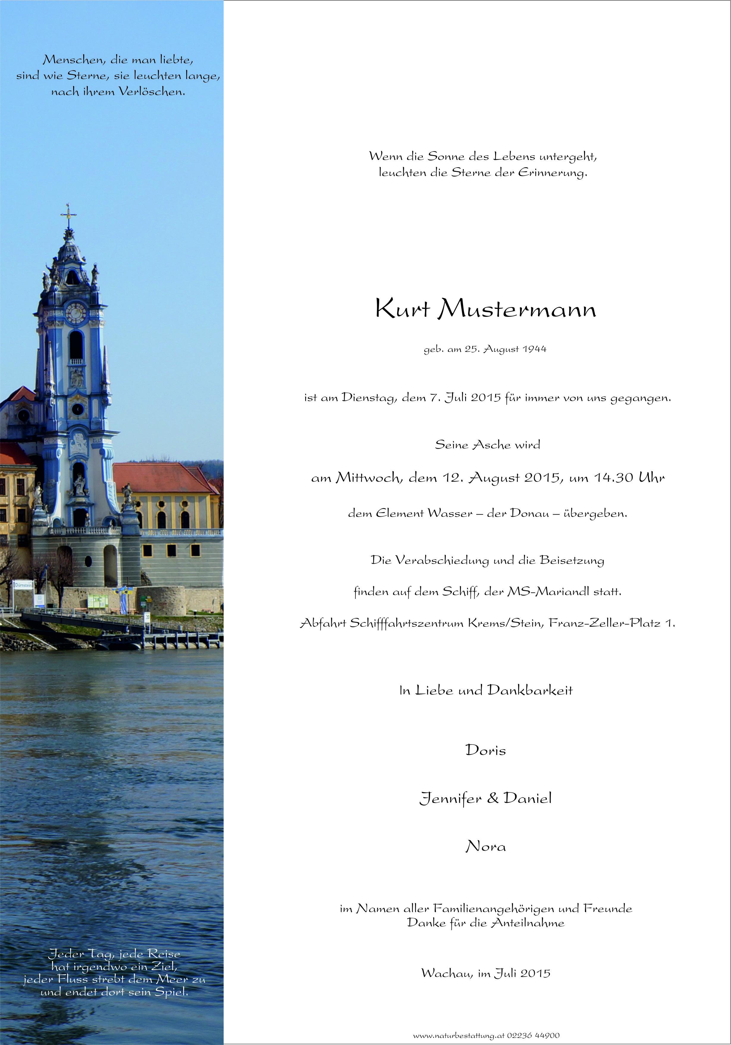 Parte Muster Donaubestattung Flussbestattung Wald der Ewigkeit Naturbestattung